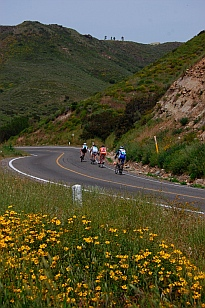 Cyclists sweep around a grand descent