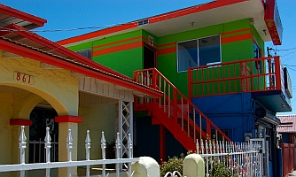 Brightly painted homes in Ensenada, Mexico