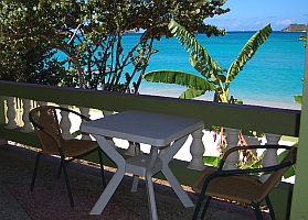 Balcony table, Adam's Eve Apartments Carriacou Grenada