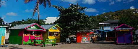 Little shops in Clifton Harbor town square Union Island SVG Grenadines