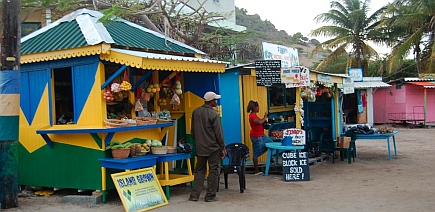 Shops in Clifton town square, Union Island, Grenadines