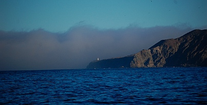 Fog encloses the entrance to Bahia Magdalena, Baja California