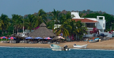 Palapa restaurants in Bahia de Chamela (Chamela Bay).