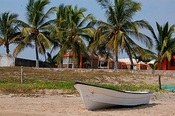 A panga on the beach in Chamela Bay (Bahia de Chamela), Mexico