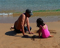 Father and daughter on the beach, Isla Ixtapa - Isla Grande - Isla de Ixtapa - Ixtapa Island, Guerrero, Mexico