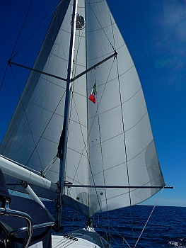 The twizzle rig is a twin headsail rig that we have flown on our boat during our cruise to Mexico.  SV Groovy - twizzle rig