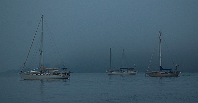 Fog in Bahia Chamela anchorage