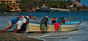Panga launch at Sayulita