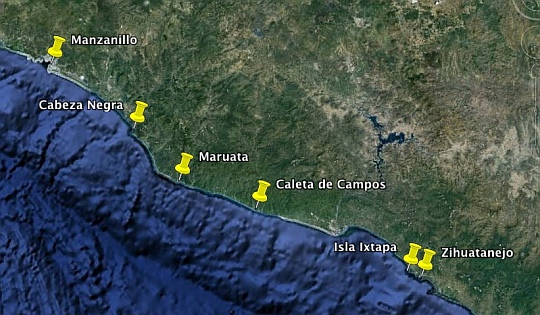 Map of the most popular anchorages  on Mexico's Southern Pacific Coast (the Costa Grande / Zihuatanejo / Ixtapa area).