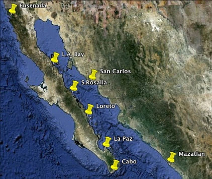 Map of the most popular Sea of Cortez anchorages.