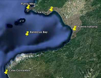 Map of the most popular Banderas Bay anchorages and ports (Puerto Vallarta, Mexico area).