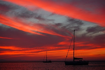s/v Groovy at sunset in Puerto Balandra (Playa Balandra) outside La Paz, Baja California Sur, Sea of Cortez, Mexico