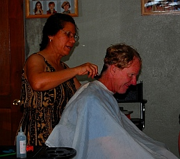 Getting a haircut in Loreto, Baja California Sur, Sea of Cortez, Mexico