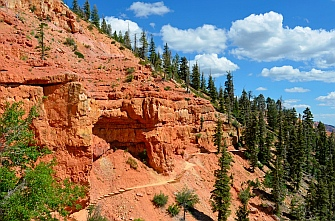 Trail snaking along the red rock cliffs, Cascade Falls hike, Dixie National Forest, Utah