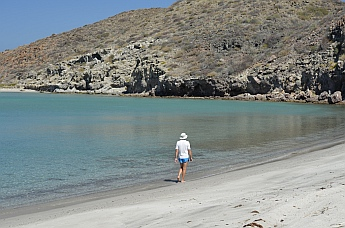 Strolling the beach at La Ramada Cove, Baja California Sur, Mexico.