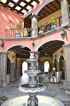 Inside he atrium at Hotel Posada de las Flores, Loreto, BCS, Sea of Cortez, Mexico.