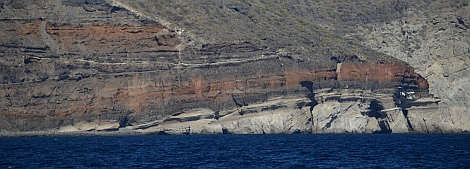 Brightly colored cliffs near Loreto, Baja California Sur, Mexico