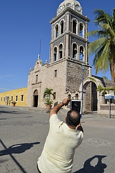 Capturing the Loreto Mission Church (cathedral) on an iPad, Baja California Sur, Mexico