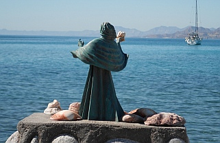 Statue on Isla Coyote, BCS, Sea of Cortez, Mexico.