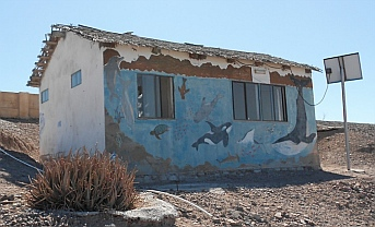 School building, Isla Coyote, BCS, Sea of Cortez, Mexico.