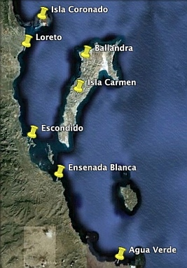 Map of the best anchorages to the south of Loreto (Sea of Cortez Mexico).
