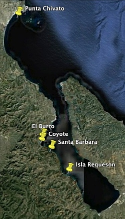 Map of the Conception Bay anchorages (Bahia Concepcion) in the Sea of Cortez.