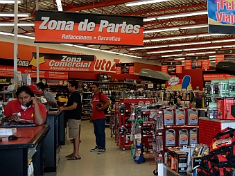 Inside Auto Zone in Manzanillo Mexico