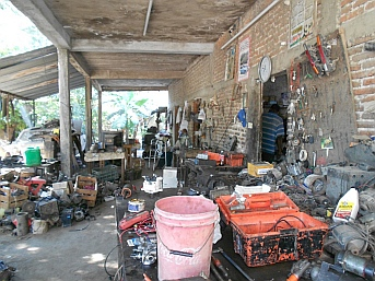 Chebio's shop in Cihuatlan, Mexico