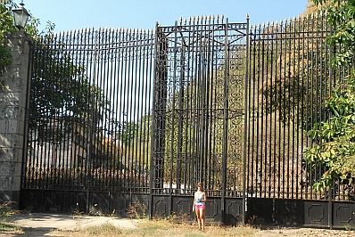 Massive gate at Arturo Durazo's Parthenon in Zihuatanejo, Mexico.