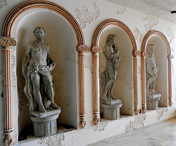 Roman and Greek style sculptures inside Arturo Durazo's Parthenon in Zihuatanejo, Mexico.