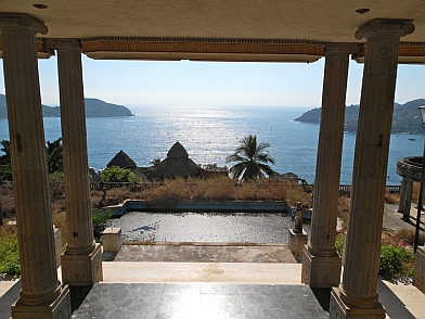 The view from the foyer in Arturo Durazo's Parthenon in Zihuatanejo, Mexico.