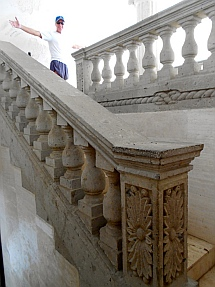 Elaborate staircase leading to the second floor of Arturo Durazo's Parthenon in Zihuatanejo, Mexico.