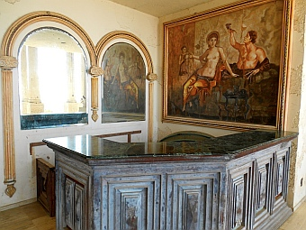 Marble topped bar in Arturo Durazo's Parthenon in Zihuatanejo, Mexico.