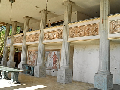 Marble dining table in Arturo Durazo's Parthenon in Zihuatanejo, Mexico.