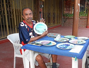 Beautifully painted plates in Zihuatanejo, Mexico.