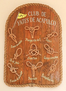 Insignia and knots on display at Acapulco Yacht Club (Club de Yates de Acapulco).