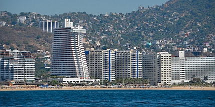 Acapulco highrises on the beach.