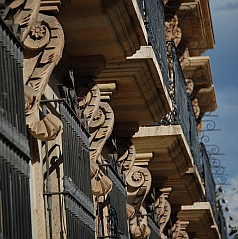 Ornate cornices in Oaxaca, Mexico