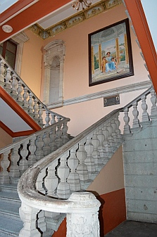 Grand staircase inside the Benito Juarez University courtyard in Oaxaca, Mexico