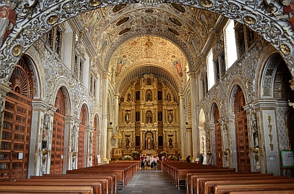 Inside the Santo Domingo Cathedral in Oaxaca, Mexico