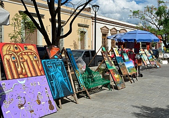 Paintings in the artisan district of Oaxaca, Mexico.