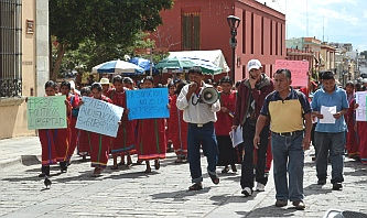 Protesters in Oaxaca Mexico.