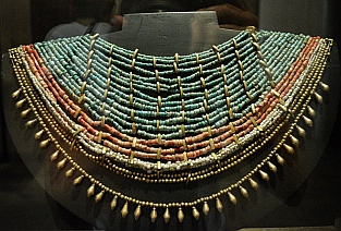 Ornate necklace from Tomb #7 at Monte Alban on display at Oaxaca Cultural Center in Santo Domingo Cathedral