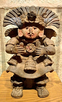 Clay figurine from Tomb #7 at Monte Alban on display at Oaxaca Cultural Center in Santo Domingo Cathedral