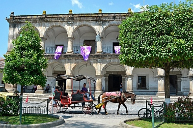 Horse drawn buggy in Antigua, Guatemala