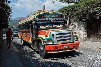 Painted schoolbus in Antigua, Guatemala