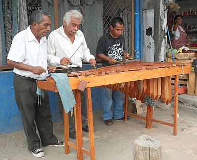 Marimba players, Puerto Chiapas, Mexico