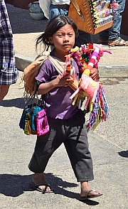 Little Mayan salesgirl in San Cristobal de las Casas, Chiapas, Mexico