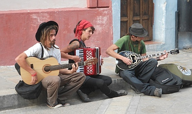 Hippies play music in San Cristobal de las Casas, Chiapas, Mexico