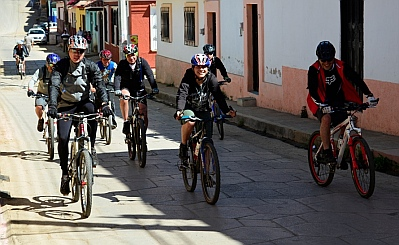 Mountain biking club group ride in San Cristobal de las Casas, Chiapas, Mexico
